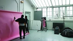 - Placing backdrops in the studio